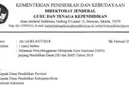 Mekanisme dan Persyaratan Peserta Olimpiade Guru Nasional (OGN) SD dan SMP Tahun 2018