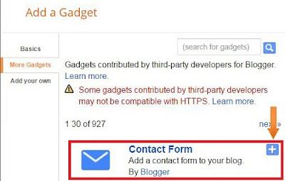 Blogger contact form widget