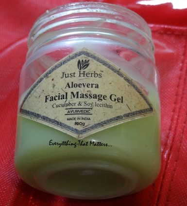 Just Herbs Aloevera Facial Massage Gel Review