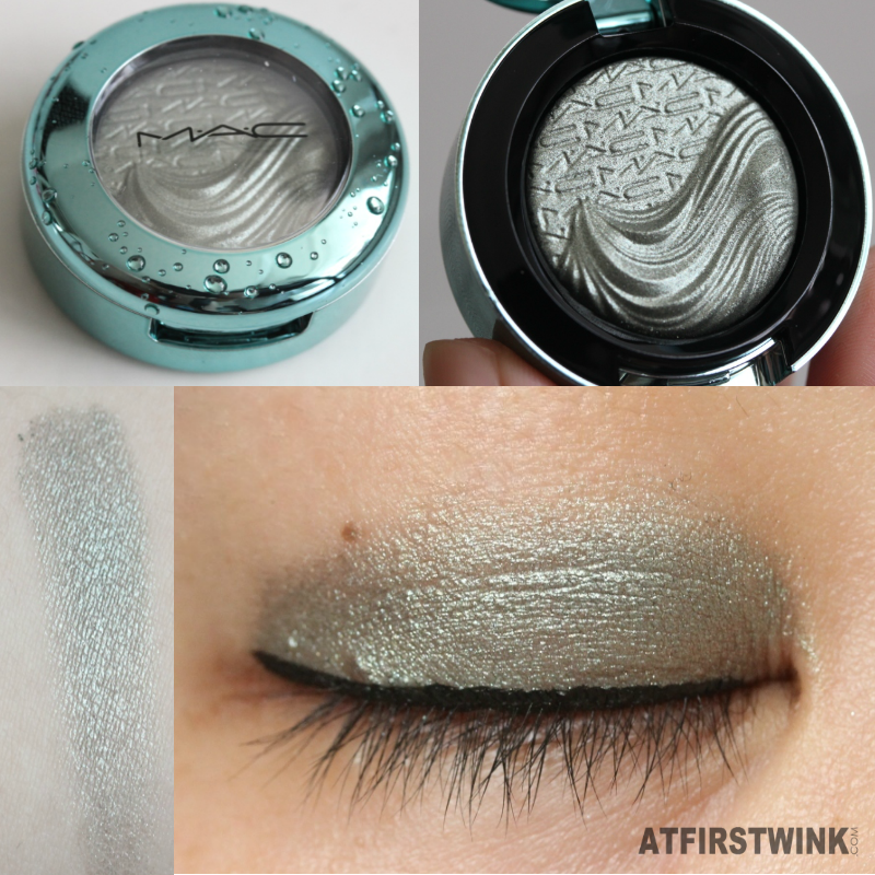 MAC extra dimension eye shadow - silver sun swatch applied on eye