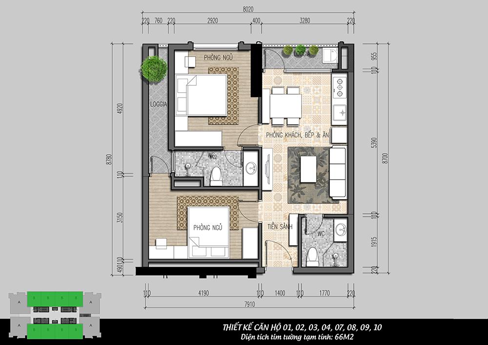 mặt bằng căn hộ 2pn dự án iris garden