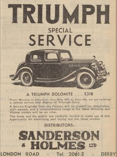 Sanderson & Holmes Ltd - Triumph Dolomite Derby Daily Telegraph 30 May 1938