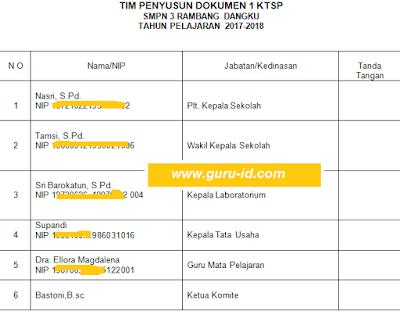 gambar Contoh info jadwal tim penyusun dokumen I Kurikulum SMP Tahun 2017/2018
