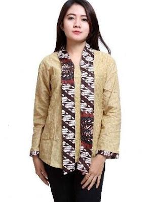 Baju batik anak muda lengan panjang kombinasi polos