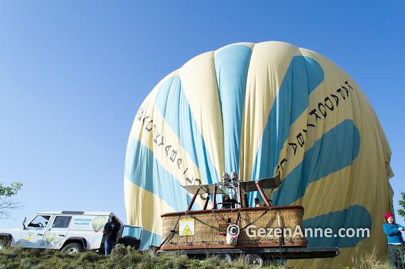Sıcak hava balonundan iniş ve balonun söndürülmesi, Kapadokya Balloons