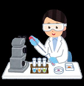 ゴーグルを付けて実験をする人のイラスト(女性)