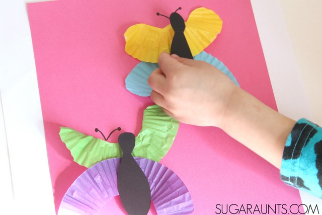 Cupcake liner butterfly craft for spring!