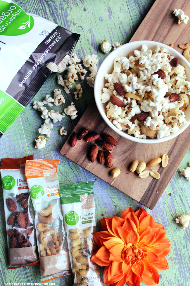 roasted peanuts, popcorn snack idea, organic snack ideas, fall snacks