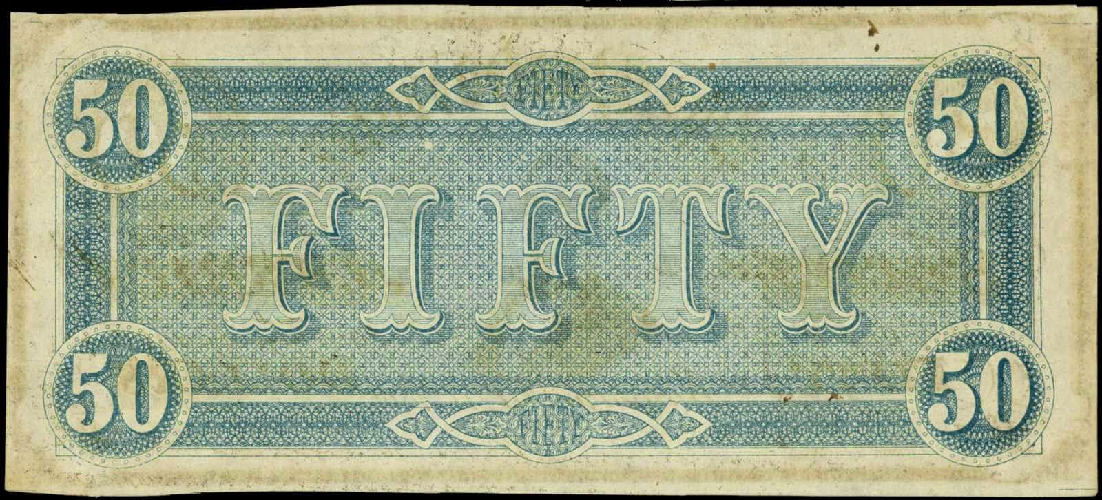 Confederate Currency banknotes Fifty Dollar 1864