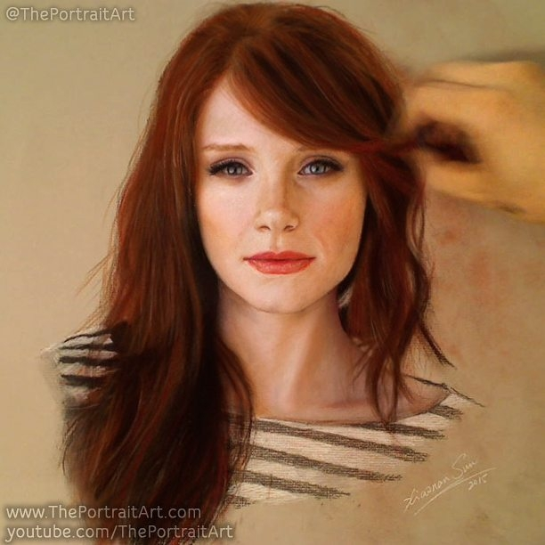 08-Bryce-Dallas-Howard-with-pastel-Xiaonan-Pencil-Charcoal-and-Pastel-Portrait-Drawings-www-designstack-co