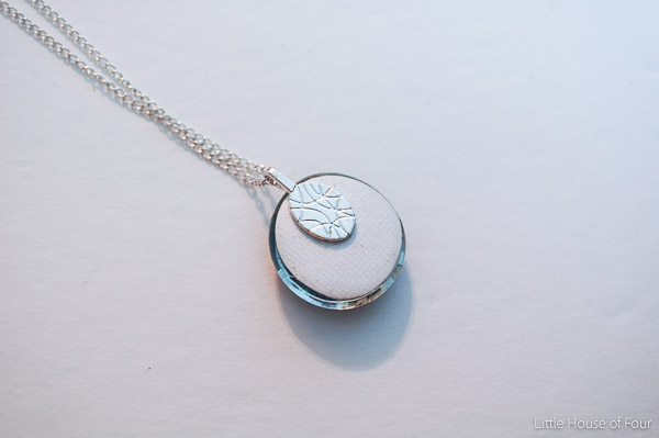Back of personalized glass bead pendant necklace