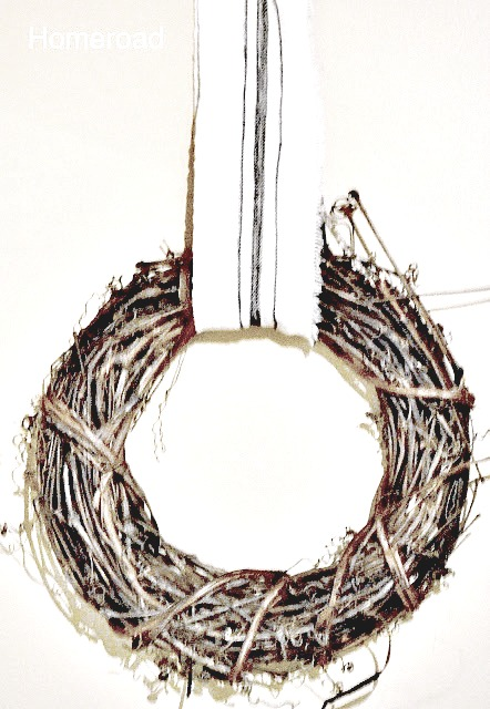 Hang a wreath from DIY grain sack ribbon