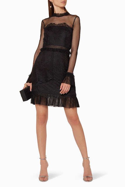 Pitch-Black Lace Mini Dress 1850 AED