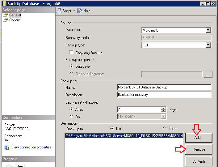 Backup SQL Server Database using SSMS