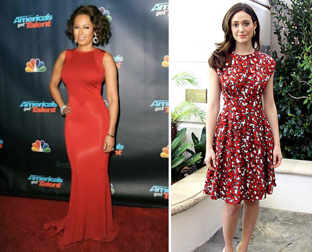 Две брюнетки в красном платье и в красном платье с принтом