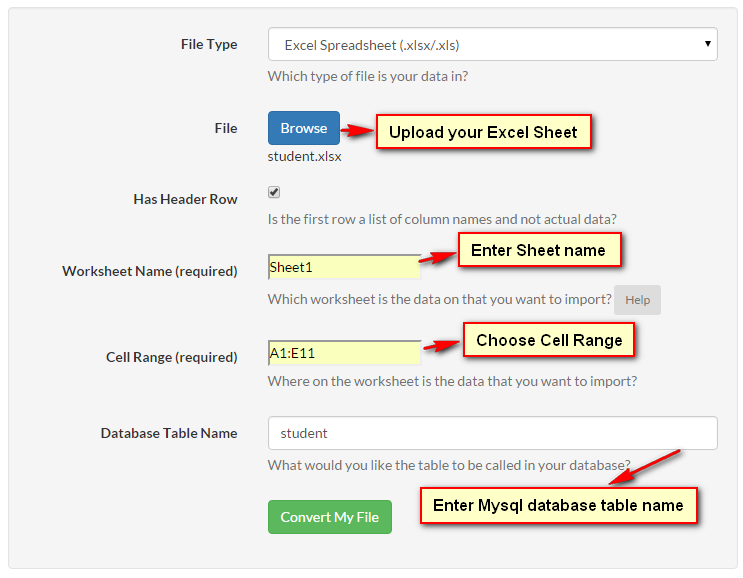 How to import the Excel sheet data into MySql database