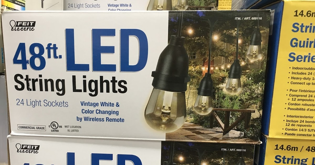 Feit Electric String Lights Replacement Bulbs : Feit Electric 48ft LED String Lights Costco Weekender