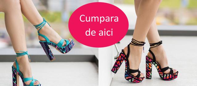 sandale cu toc cu imprimeu colorat
