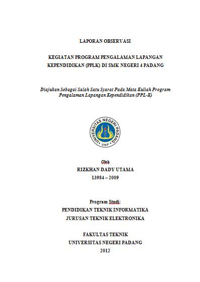 Lai Tau Mah Contoh Laporan Observasi Plk Praktek Lapangan Kependidikan