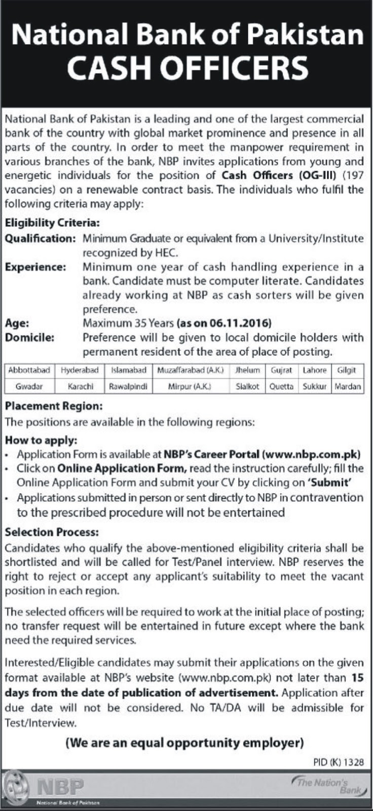 Cash Officers OG-III Jobs in NBP 2016