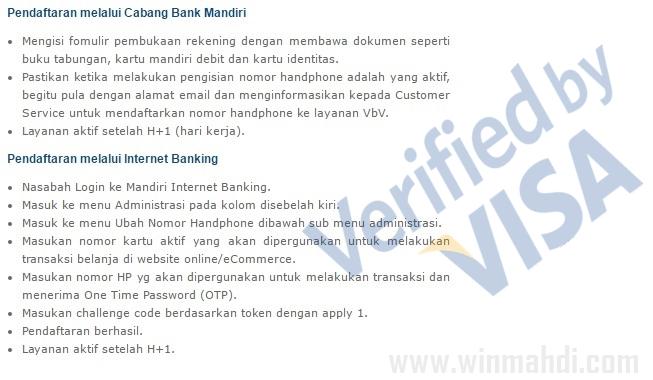 cara daftar VbV kartu debit Mandiri Visa