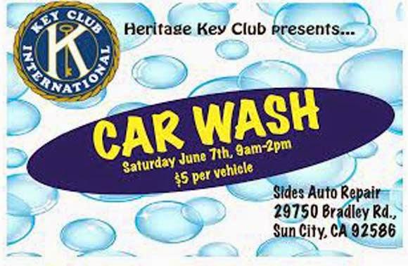 Heritage Car Wash: Heritage High Key Club Fundraiser Car Wash Set For June 7