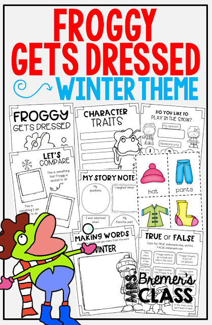 Froggy Gets Dressed book study companion literacy activities perfect for a winter theme. Packed with fun ideas and hands on literacy activities. K-2 Common Core aligned. #froggy #bookstudy #bookstudies #winteractivities #kindergarten #literacy #1stgrade #winter #winterbooks #kindergartenreading #1stgradereading #bookcompanion #bookcompanions #guidedreading #picturebookactivities