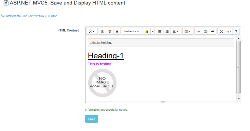 How to Save & Display HTML Content in ASP NET MVC5 - Asma's Blog
