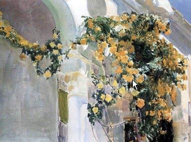 El rosal amarillo, Joaquín Sorolla y  Bastida, Joaquín Sorolla, Paisajes de Joaquín Sorolla, Impresionismo Valenciano, Joaquín Sorolla Bastida