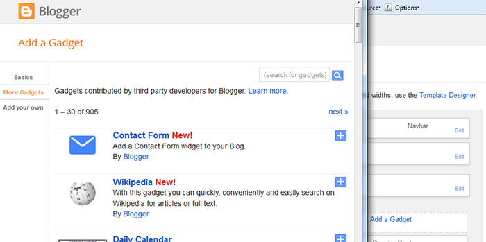 Photo shows how to add contact form through blogger layout new gadget window