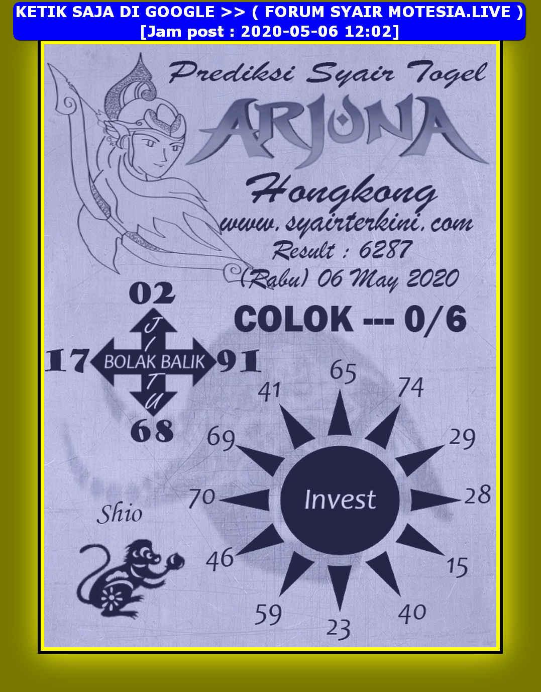 Kode syair Hongkong Rabu 6 Mei 2020 98
