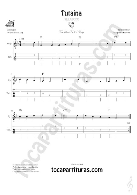 Banjo Tablatura y Partitura Fácil de Tutaina Villancico Punteo Tablature Sheet Music for Banjo Tabs Music Scores