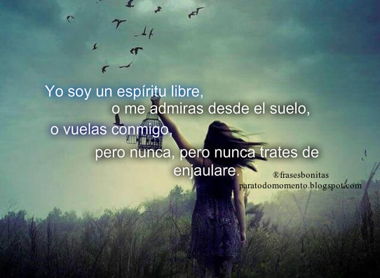 Yo soy un espíritu libre, o me admiras desde el suelo, o vuelas conmigo, pero nunca, pero nunca trates de enjaularme.