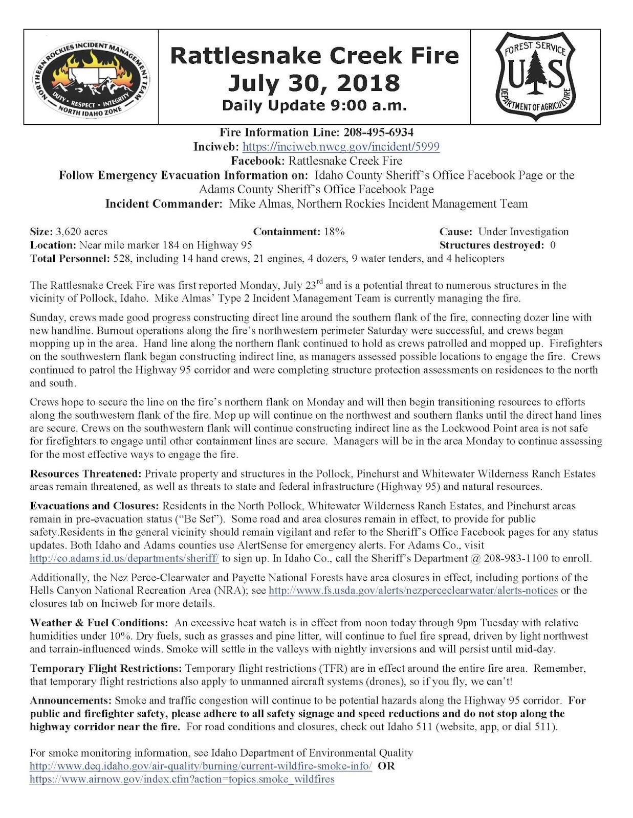 Idaho Fire Information: July 2018