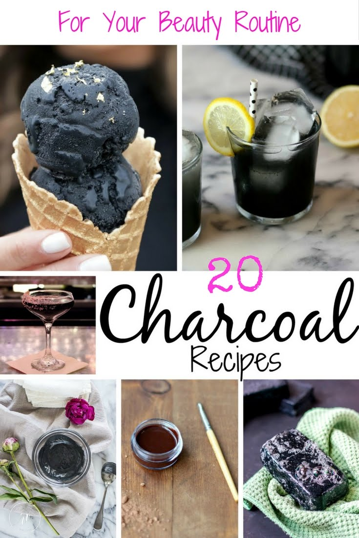 20 Charcoal Recipes to add to your beauty routine. Find recipes on drinks, body scrubs, mask, foot scrubs, ice cream and more.