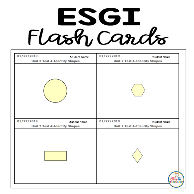 ESGI Flashcards with students names.  Print the exact items your student needs more practice with.  ESGI will print flashcards for every student who needs help with certain items.  Send the flash cars home with the parent note.  Students can work on the exact skills they need more help with.  Flash cards print with students name right on them.