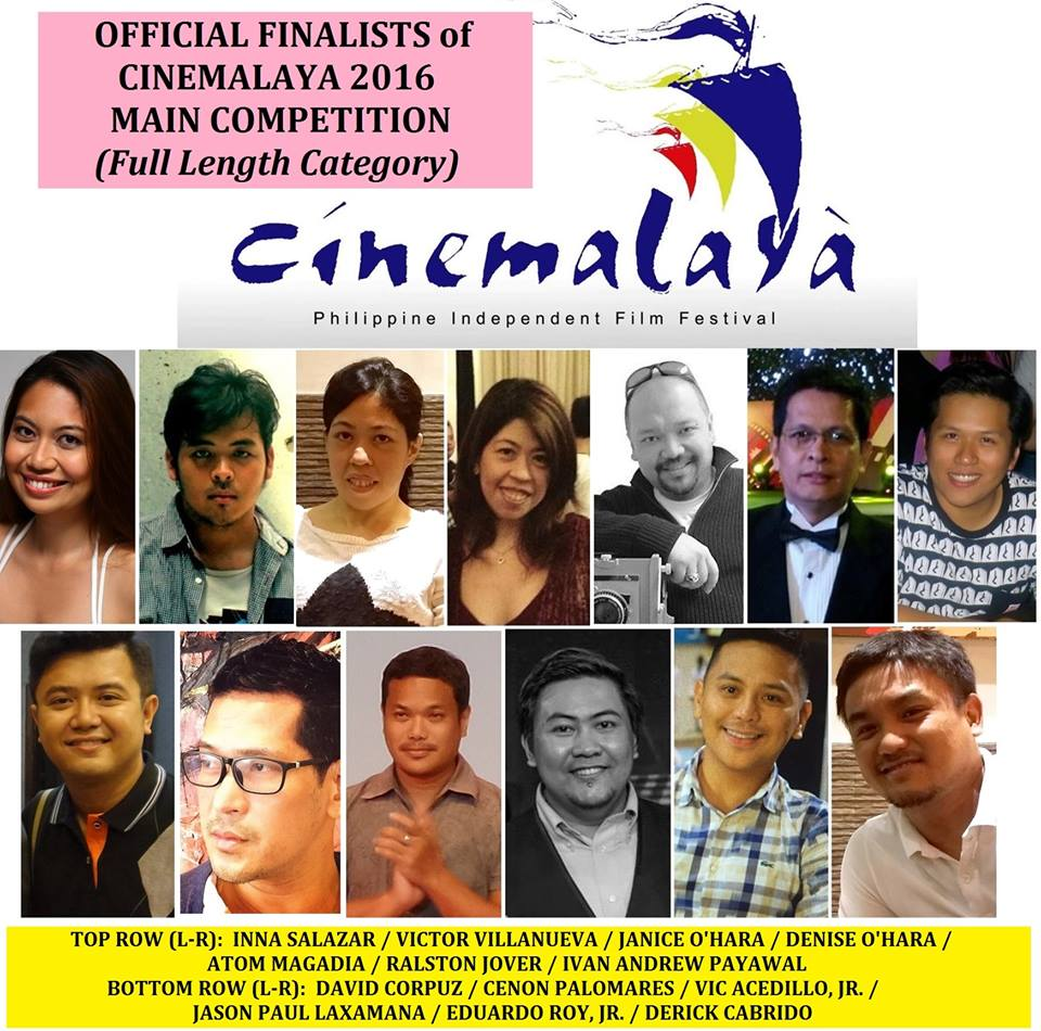 Cinemalaya 2016 Official Full Length Movie Finalists