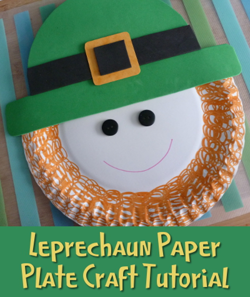 Green leprechaun paper plate craft St. Patrick's Day activity kids