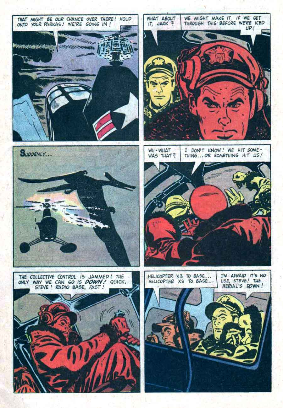 The Land Unknown / Four Color Comics #845 dell 1950s movie comic book page art by Alex Toth