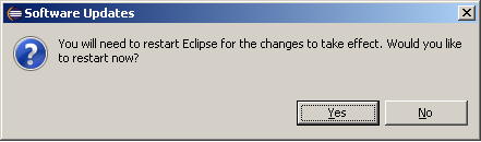 Restart Eclipse window after Software Updates