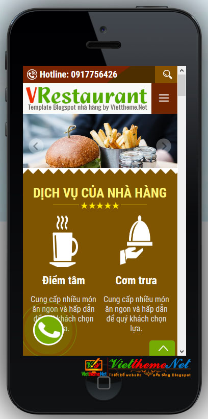 VRestaurant hiển thị trên smartphone
