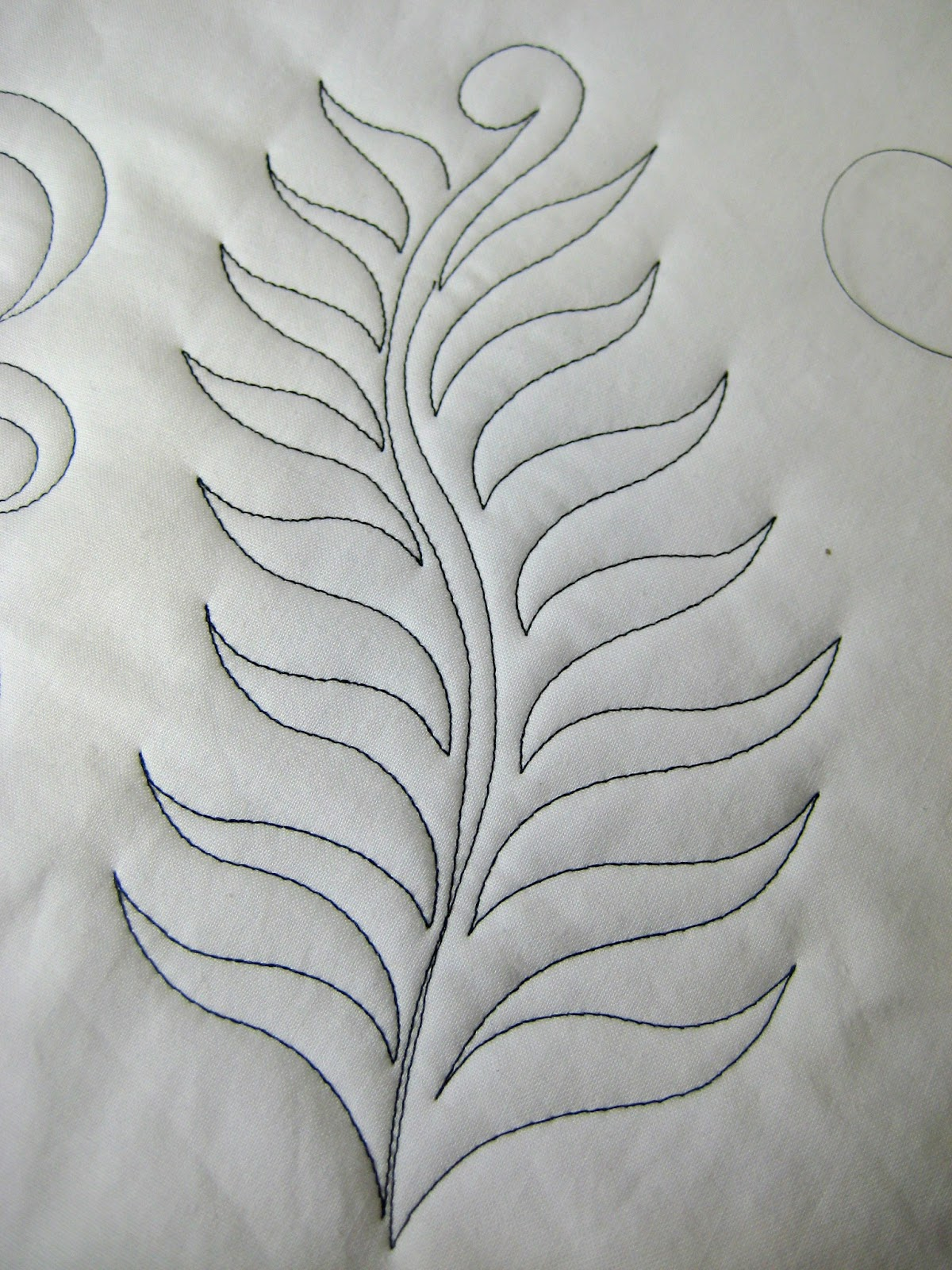 Fern Feather Free Motion Quilting design