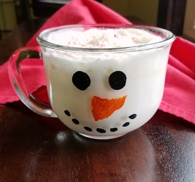 white hot chocolate filled homemade snowman mug