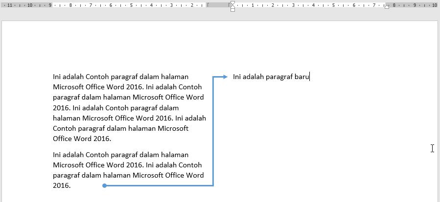 Kursor loncat ke awal kolom berikutnya untuk membuat baris paragraf baru
