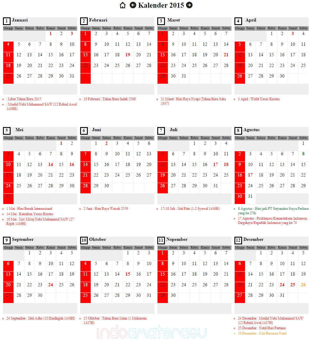 Download Kalender 2015 Plus Hari Libur Nasional