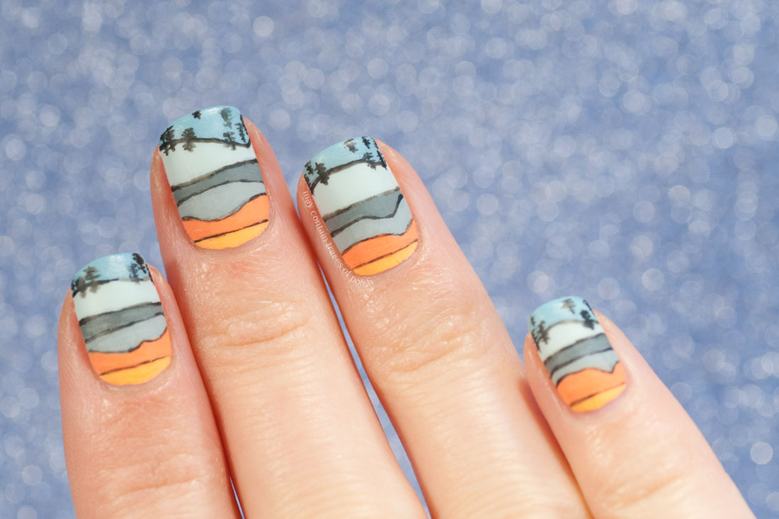 31 Day Challenge: Day 27, Inspired by Artwork - Abstract landscape nail art