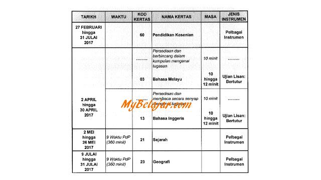 Jadual Waktu Peperiksaan PT3 2017