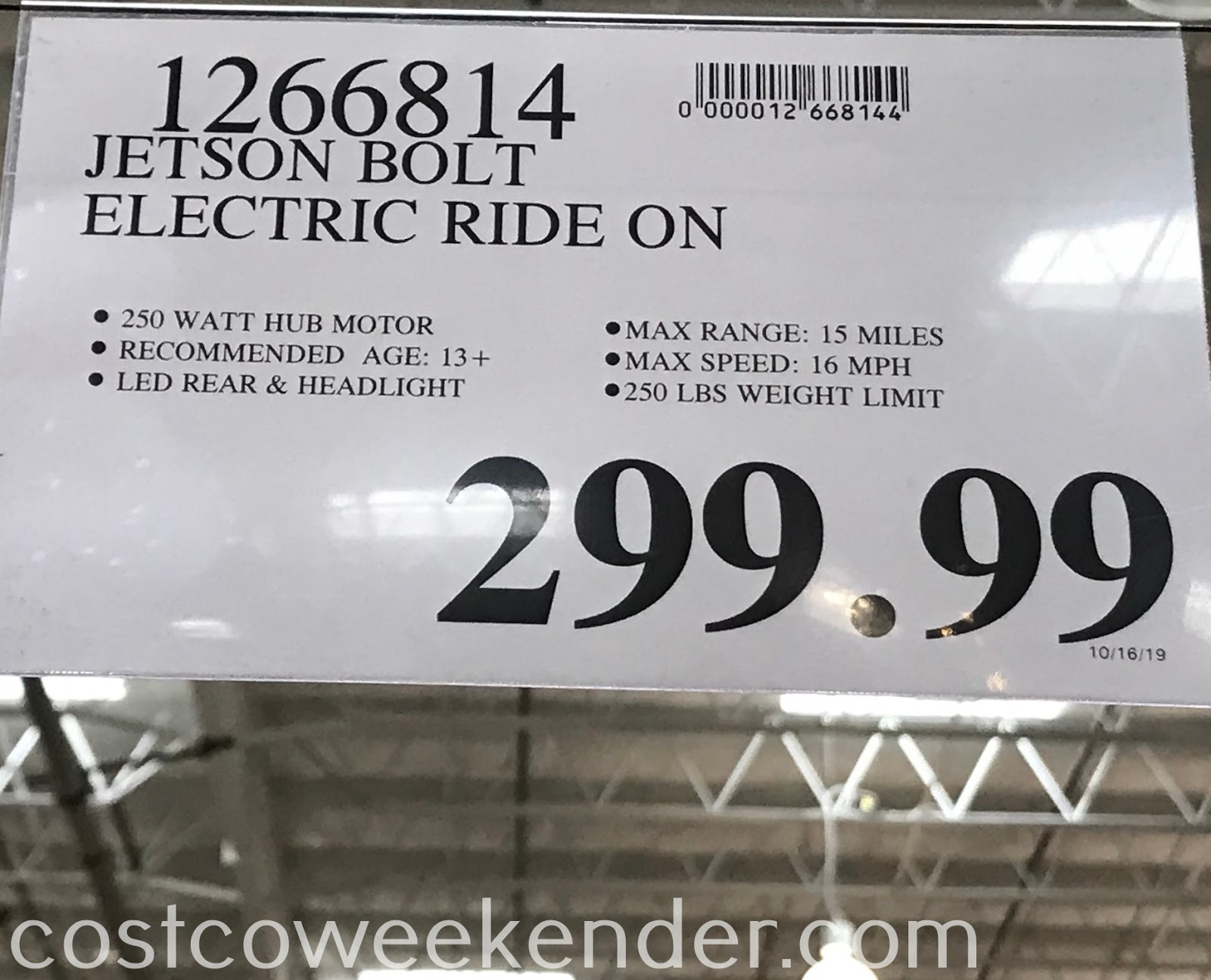 Deal for the Jetson Bolt Folding Electric Ride-On at Costco