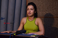 Actress Catherine Tresa Pos during Self Dubbing for Gautham Nanda Movie  0005.JPG