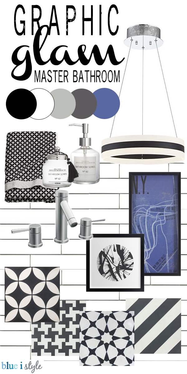 Graphic Glam master bathroom mood board